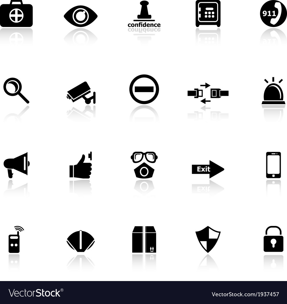 Security icons with reflect on white background vector | Price: 1 Credit (USD $1)