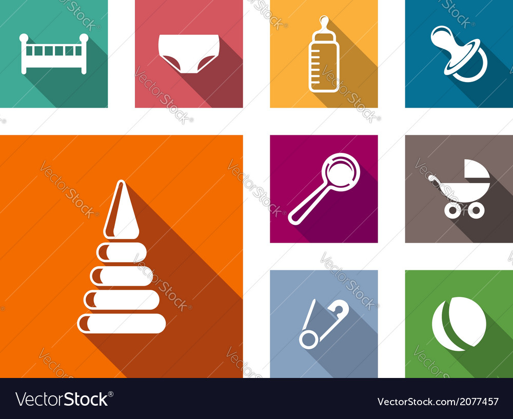 Set of colorful flat baby icons vector | Price: 1 Credit (USD $1)