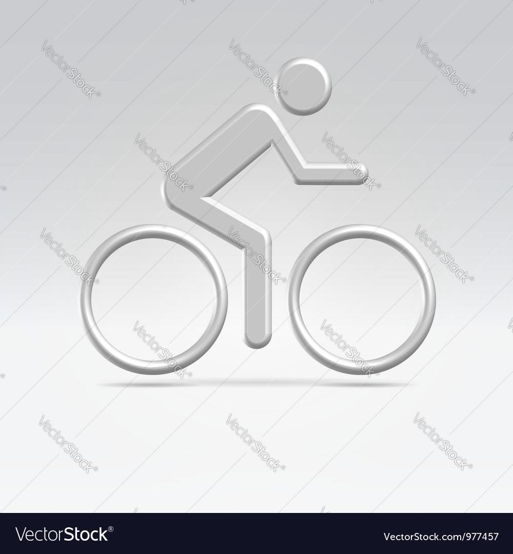 Silver cyclist icon vector | Price:  Credit (USD $)