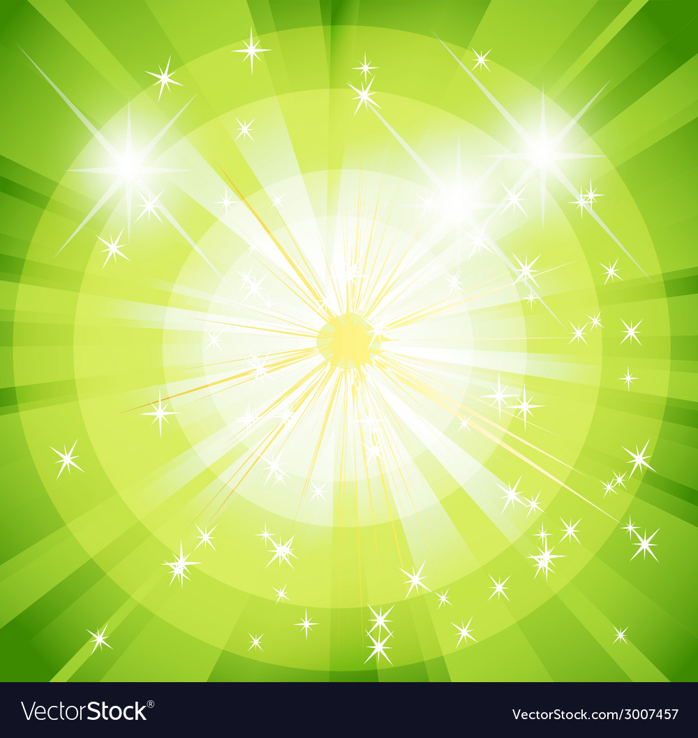 Star burst and sunbeam green background vector | Price: 1 Credit (USD $1)