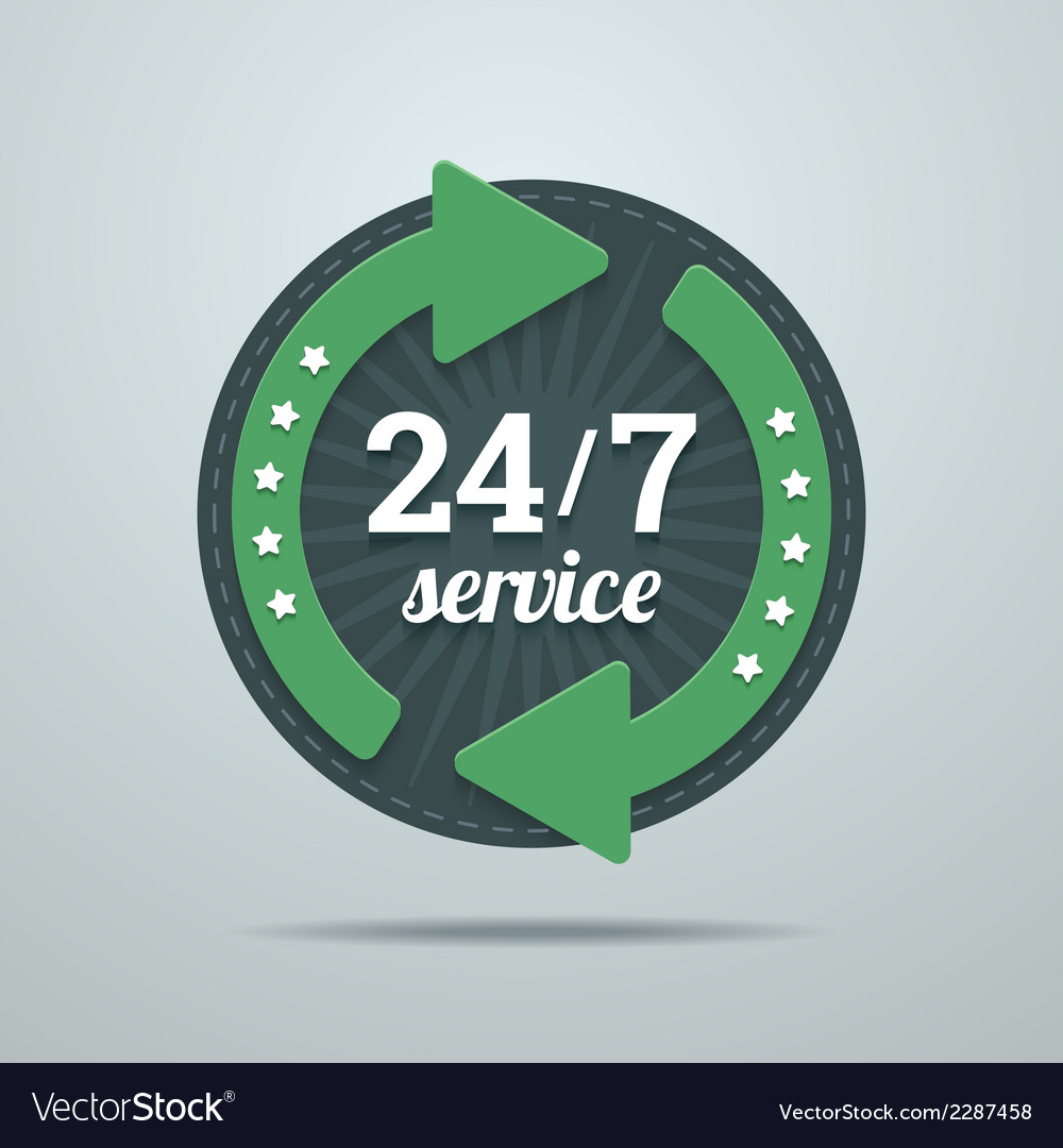 24 7 hours service sign in flat style vector | Price: 1 Credit (USD $1)