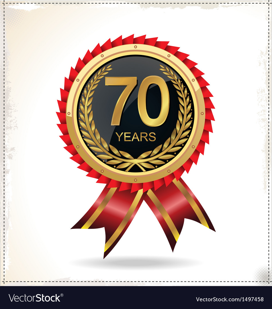 70 years anniversary golden label with ribbon vector | Price: 1 Credit (USD $1)