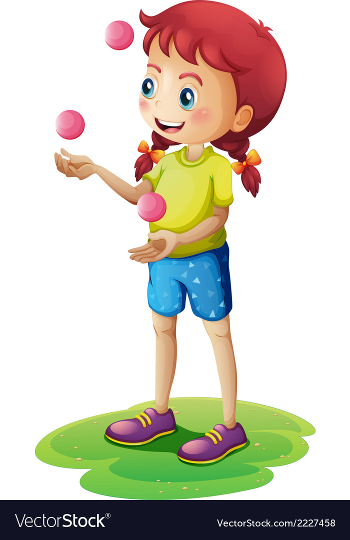 A young girl juggling vector | Price: 1 Credit (USD $1)