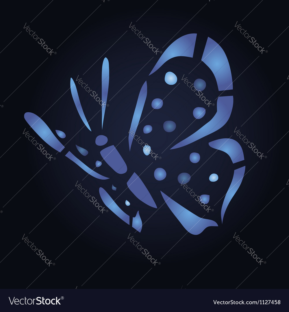 Blue butterfly on black background vector | Price: 1 Credit (USD $1)
