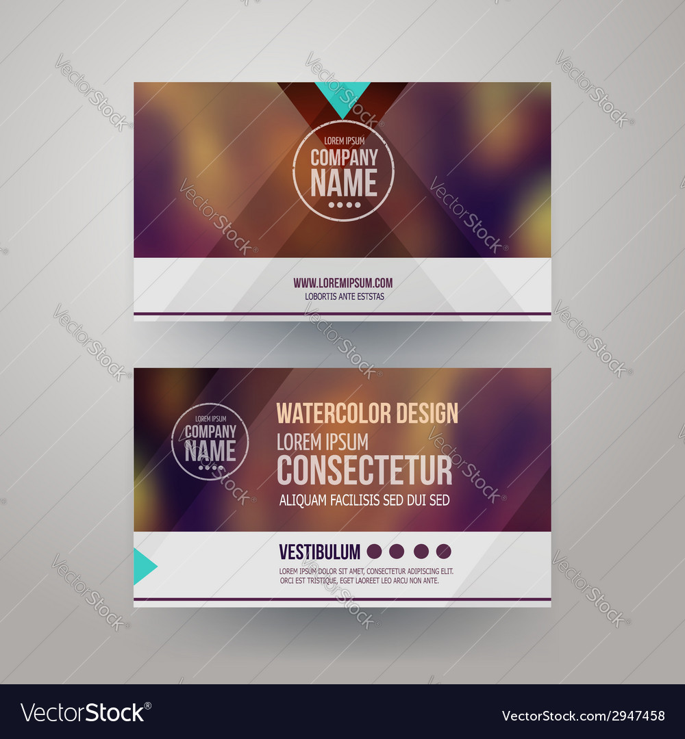Business cards with blurred abstract background vector | Price: 1 Credit (USD $1)