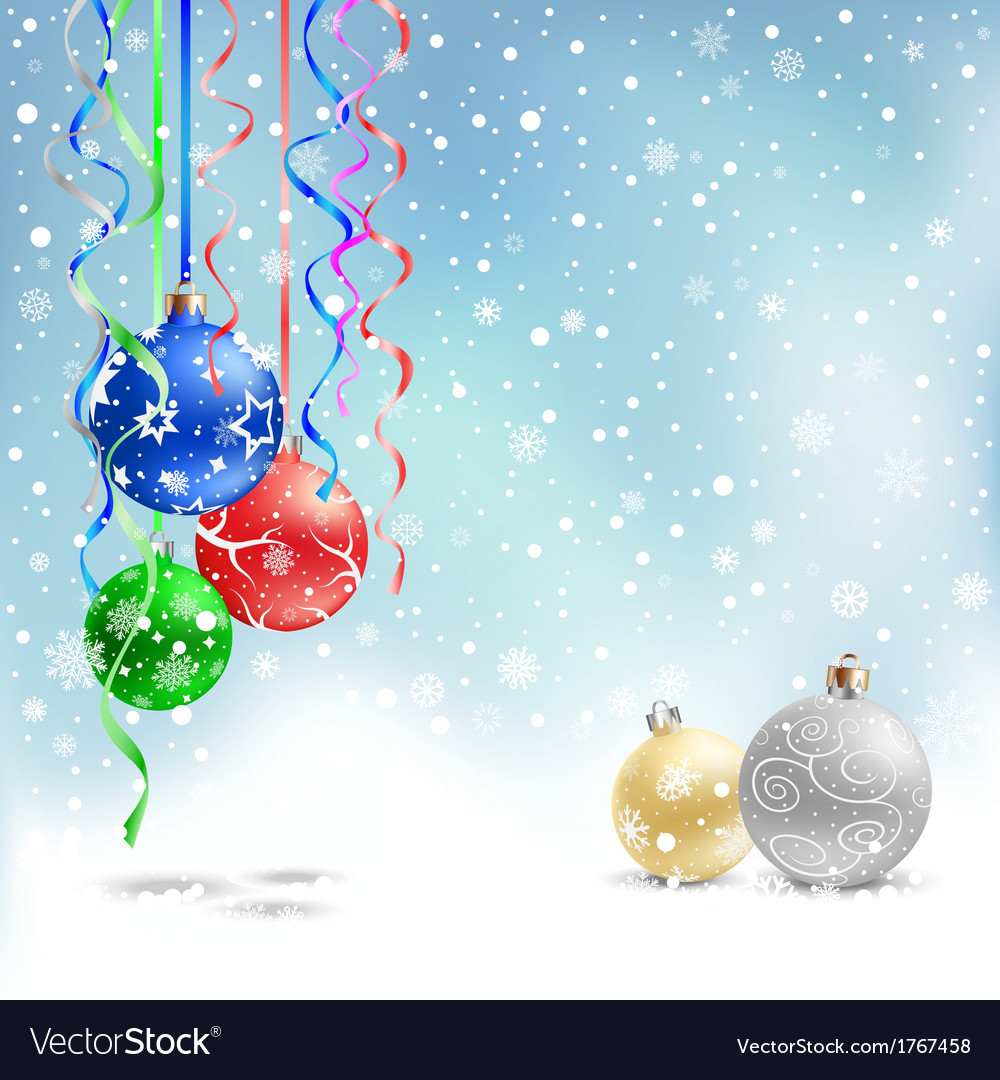 Christmas bauble snow ribbon vector | Price: 1 Credit (USD $1)