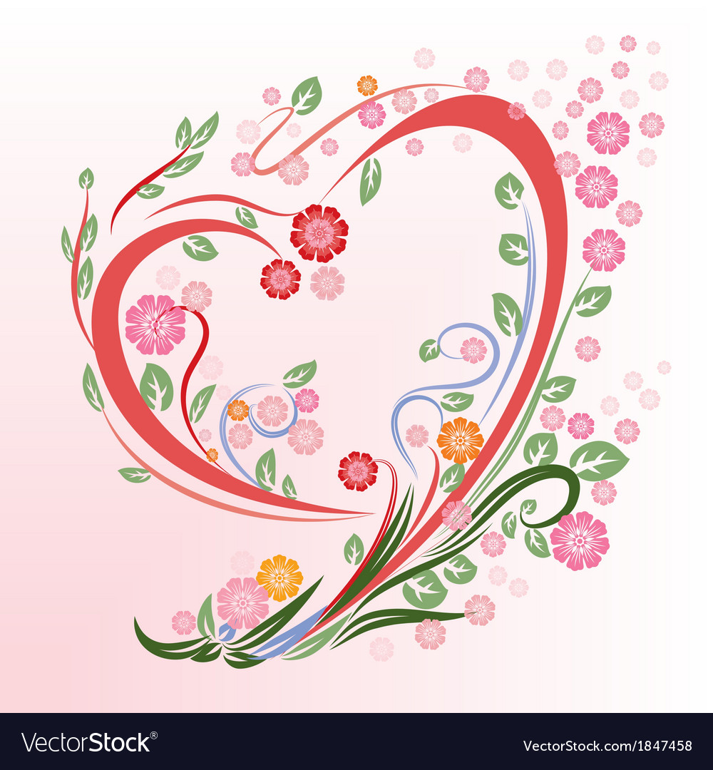 Flower in heart shape vector | Price: 1 Credit (USD $1)