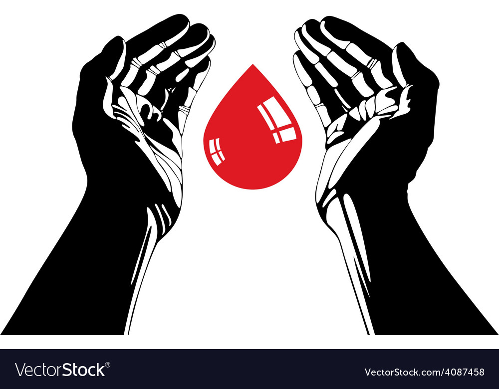 Hand with blood drop symbol vector | Price: 1 Credit (USD $1)