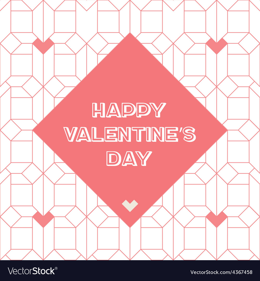 Happy valentines day vintage card with abstract vector | Price: 1 Credit (USD $1)
