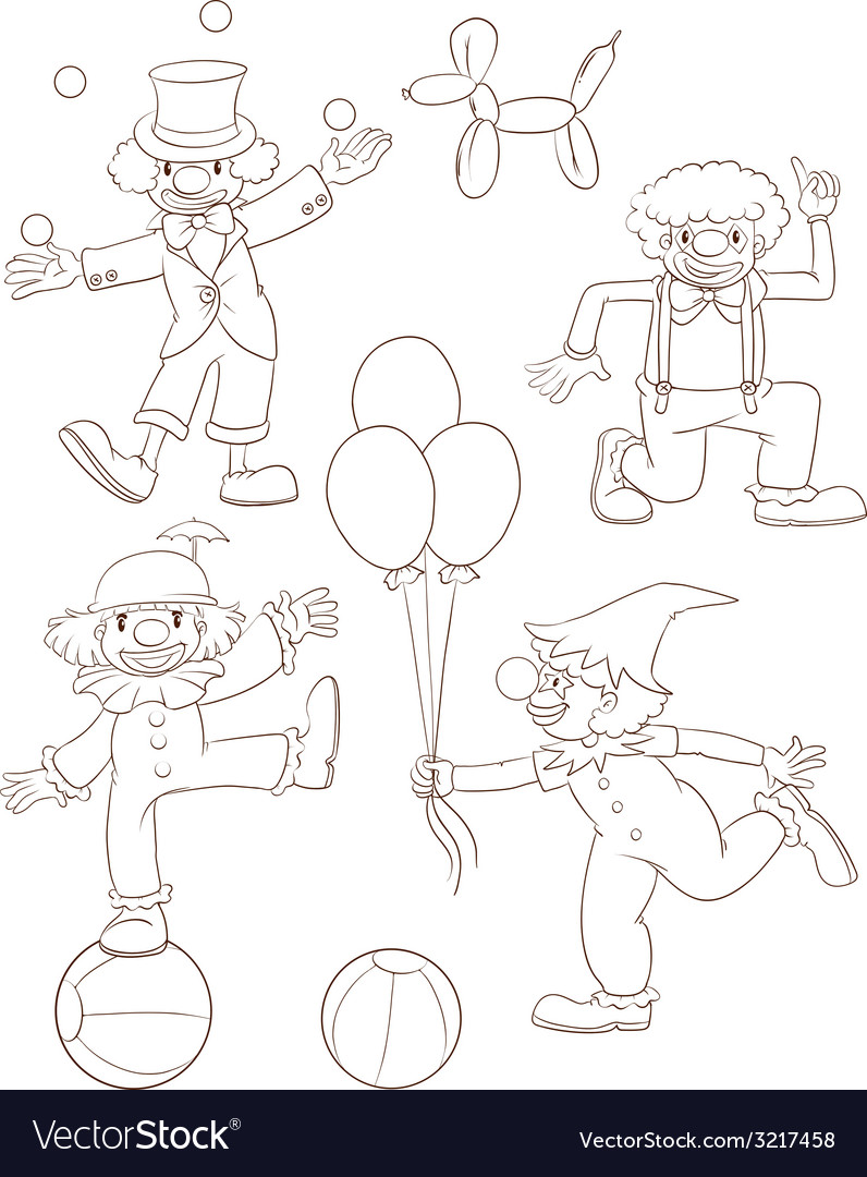 Plain sketches of the playful clowns vector | Price: 1 Credit (USD $1)