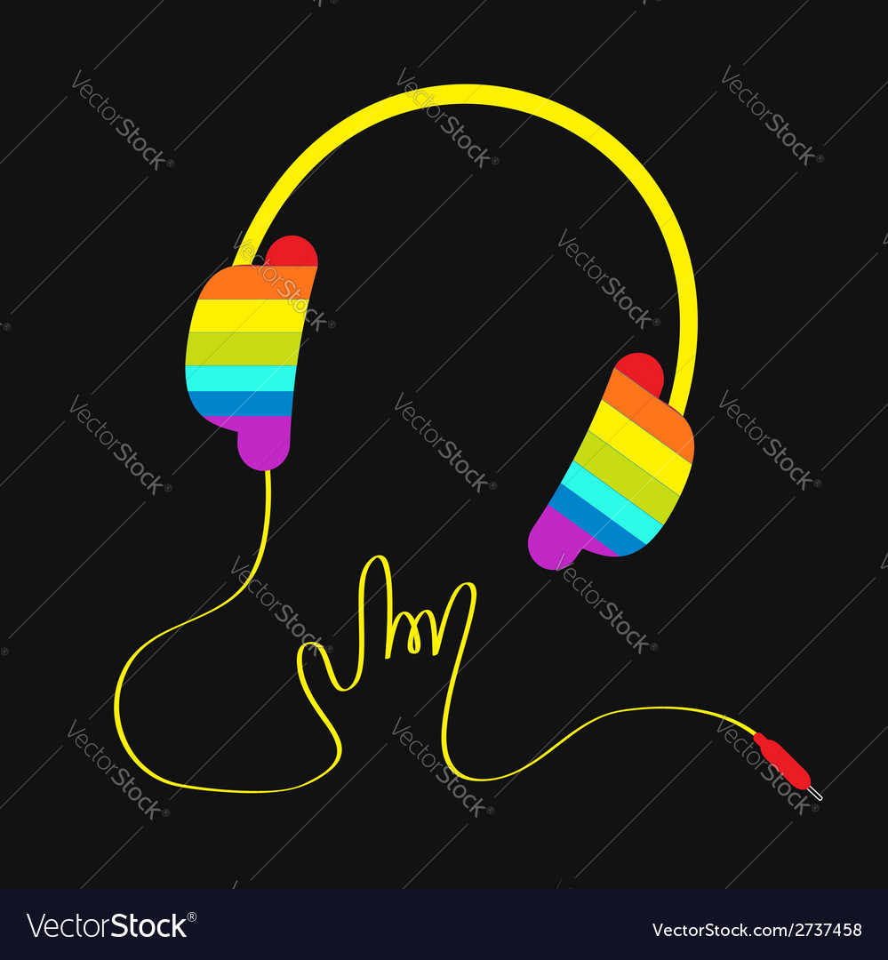 Rainbow headphones with cord rock and roll vector   Price: 1 Credit (USD $1)