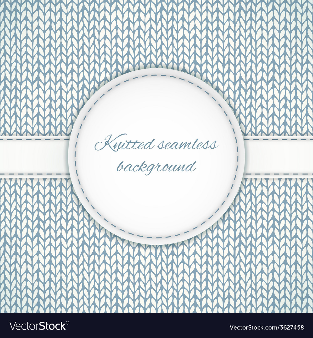 Seamless knitted background with stitched frame vector | Price: 1 Credit (USD $1)