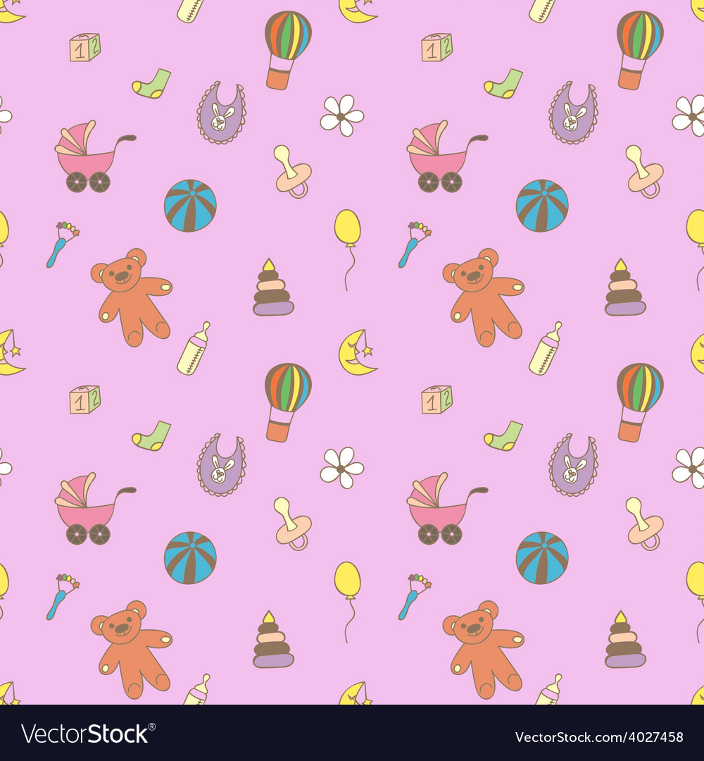 Seamless pattern for fabric with children toys vector   Price: 1 Credit (USD $1)