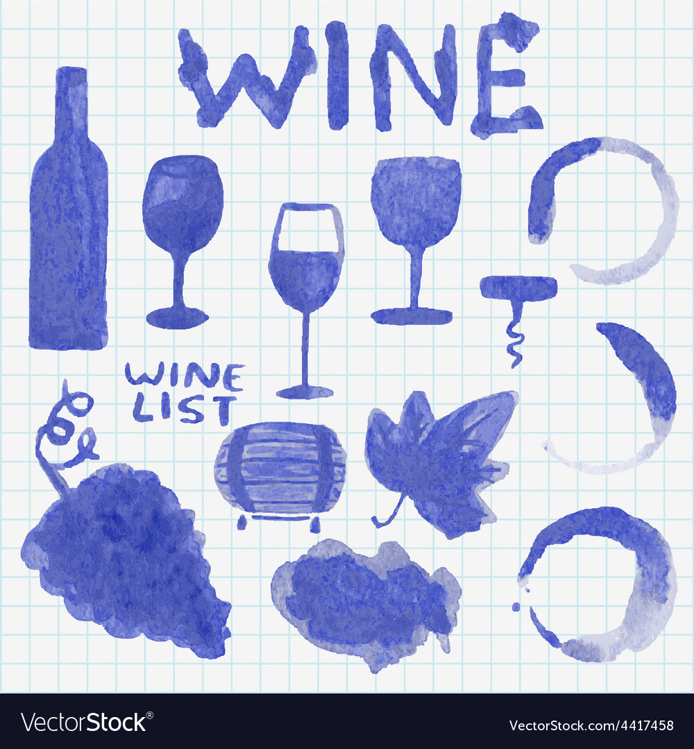 Set of watercolor wine stuff decoration and vector | Price: 1 Credit (USD $1)