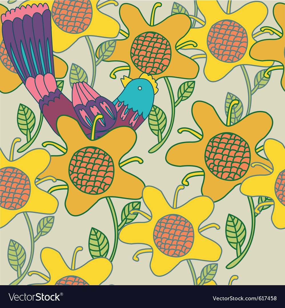 Sunflowers background pattern vector | Price: 1 Credit (USD $1)