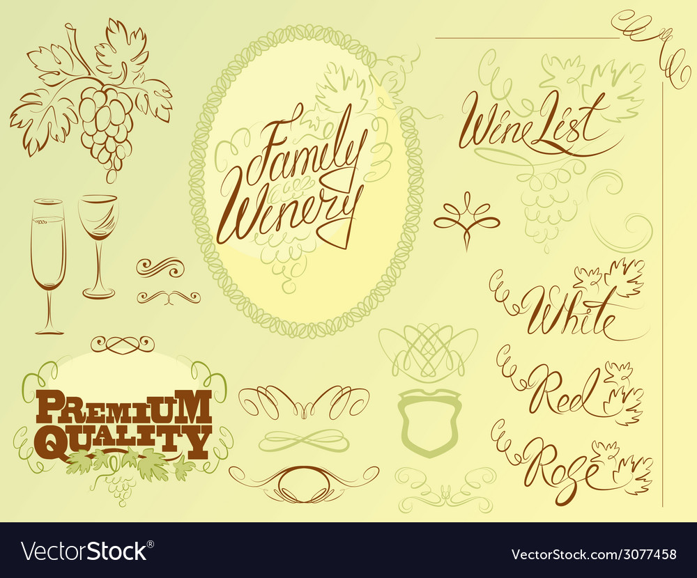 Wine calligraphy 2colors 380 vector | Price: 1 Credit (USD $1)