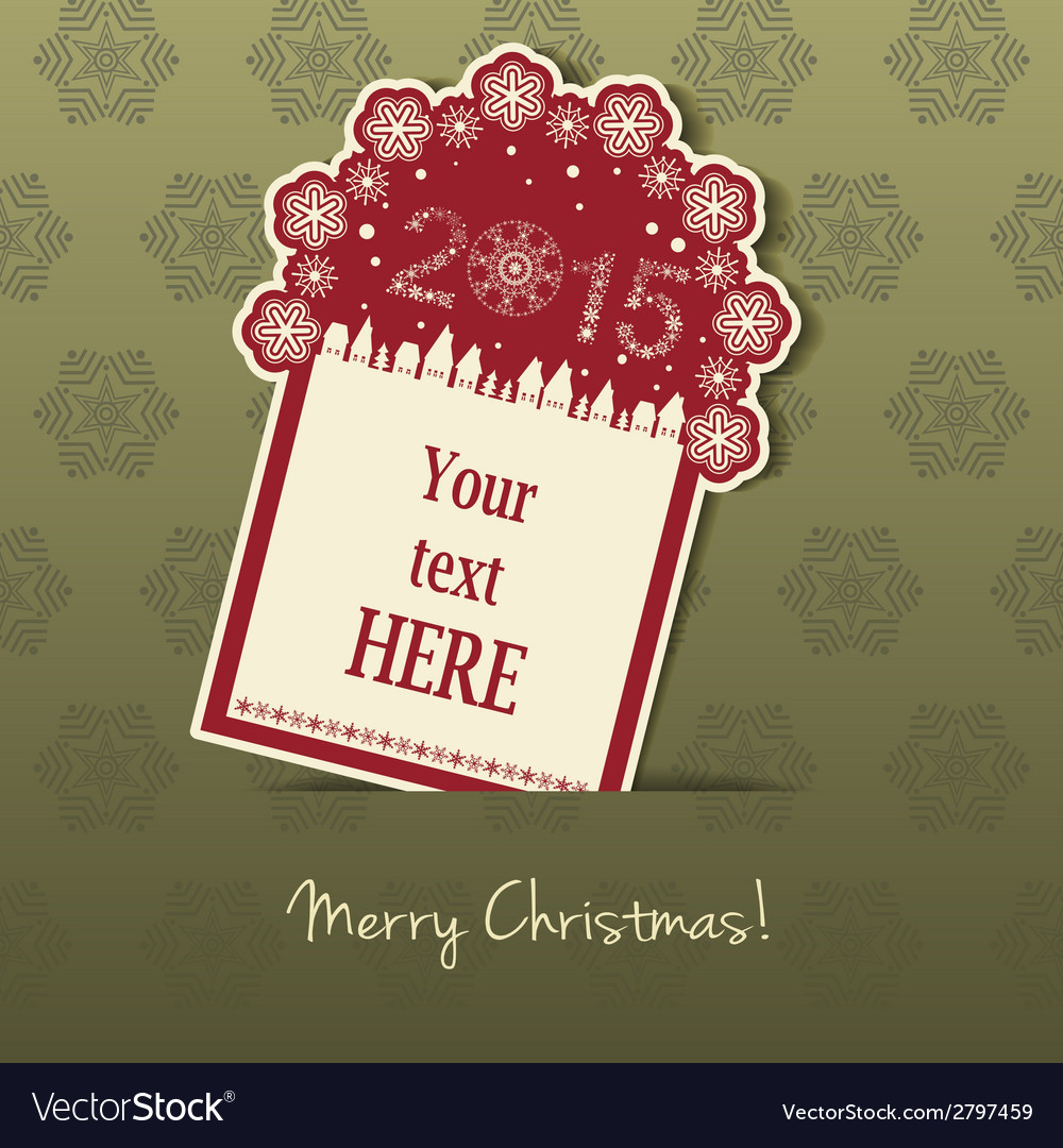 2015 christmas tag with field for text vector | Price: 1 Credit (USD $1)