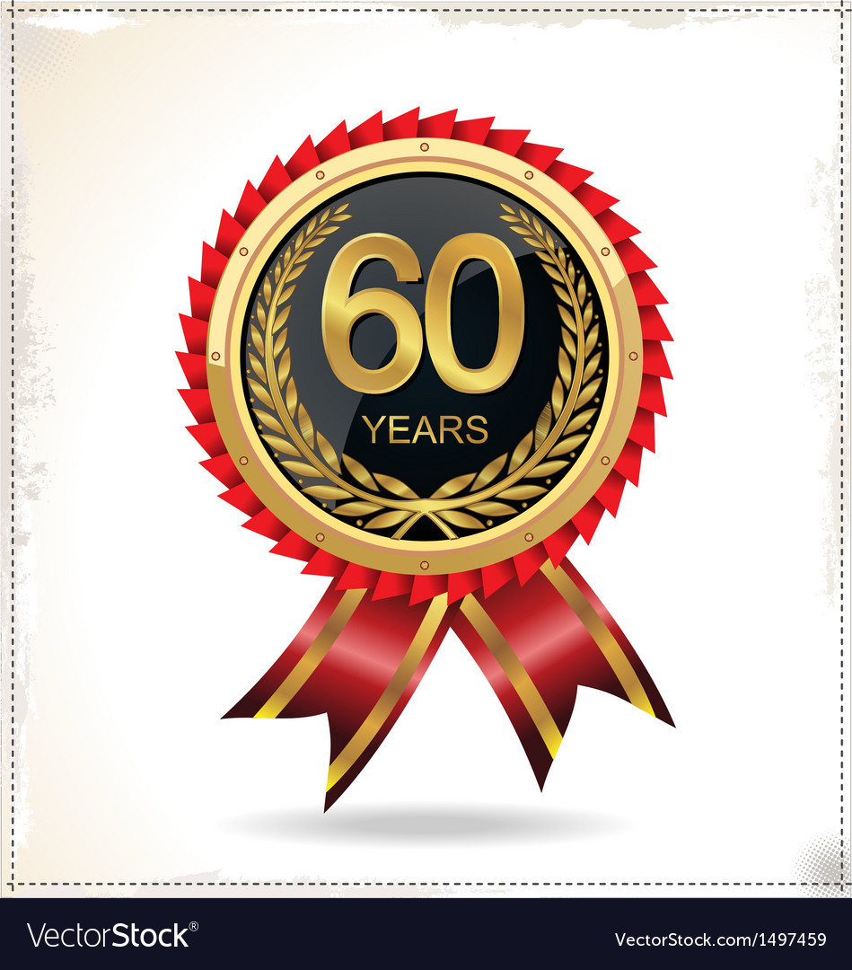 60 years anniversary golden label with ribbon vector | Price: 1 Credit (USD $1)