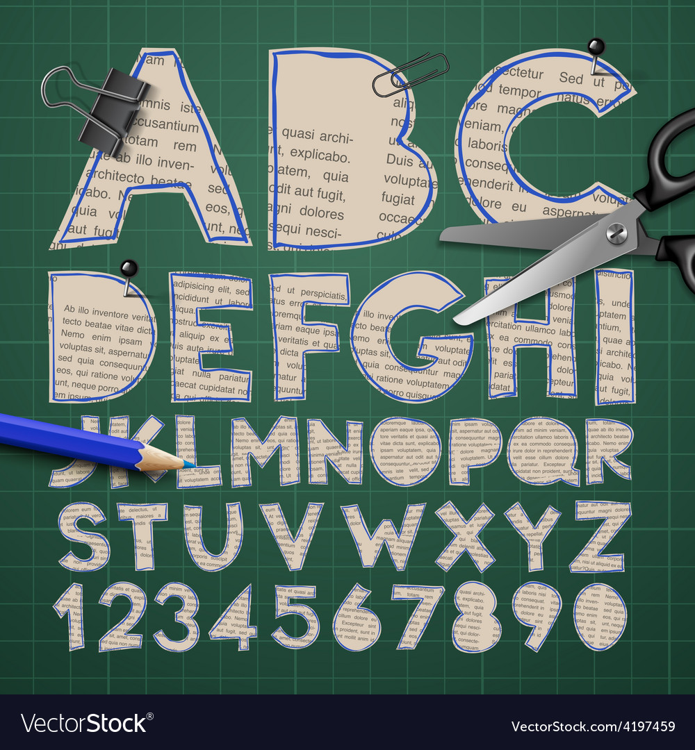Alphabet and numbers paper craft design cut out vector | Price: 1 Credit (USD $1)