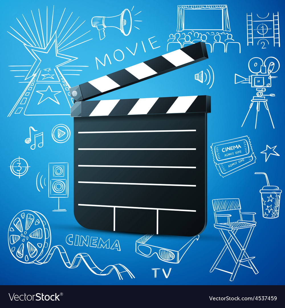 Black cinema clapper and hand draw icon vector   Price: 1 Credit (USD $1)