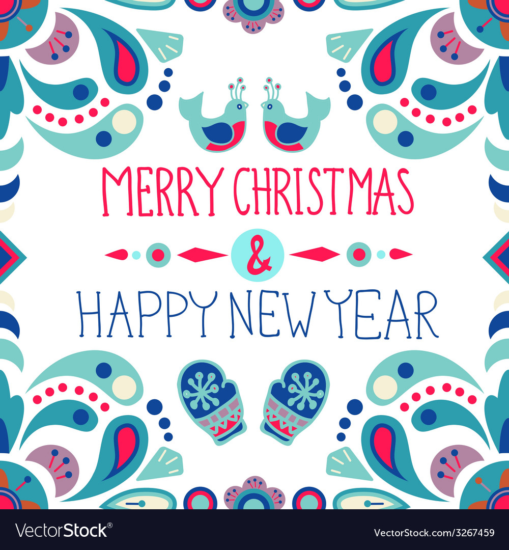 Christmas background with cute floral ornament and vector | Price: 1 Credit (USD $1)