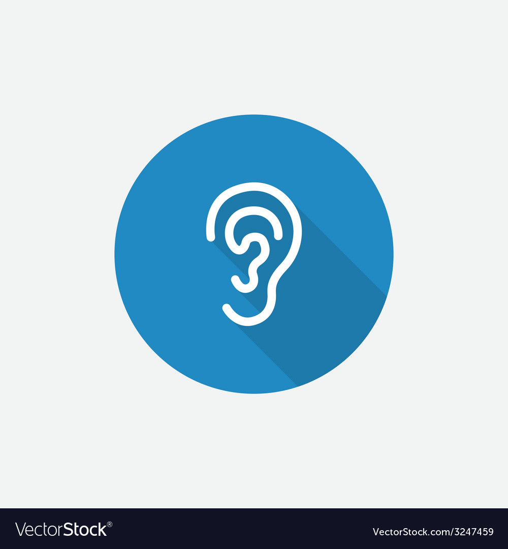 Ear flat blue simple icon with long shadow vector | Price: 1 Credit (USD $1)