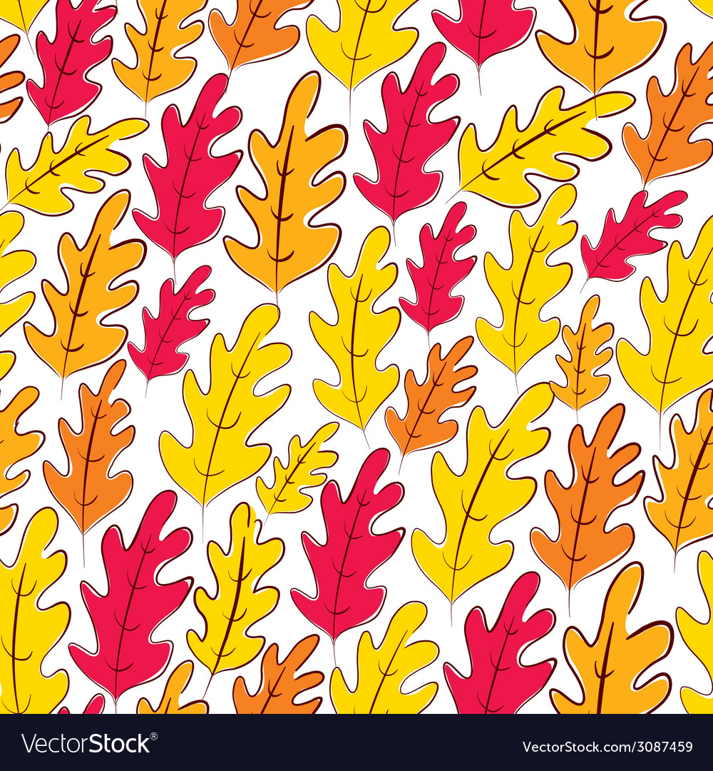 Fall oak leaves seamless pattern background vector | Price: 1 Credit (USD $1)