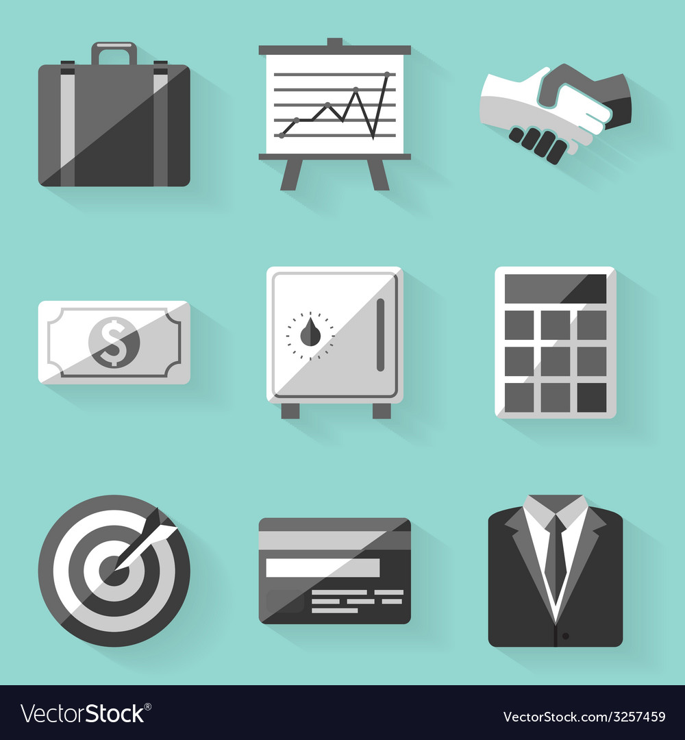 Flat icon set business white style vector | Price: 1 Credit (USD $1)