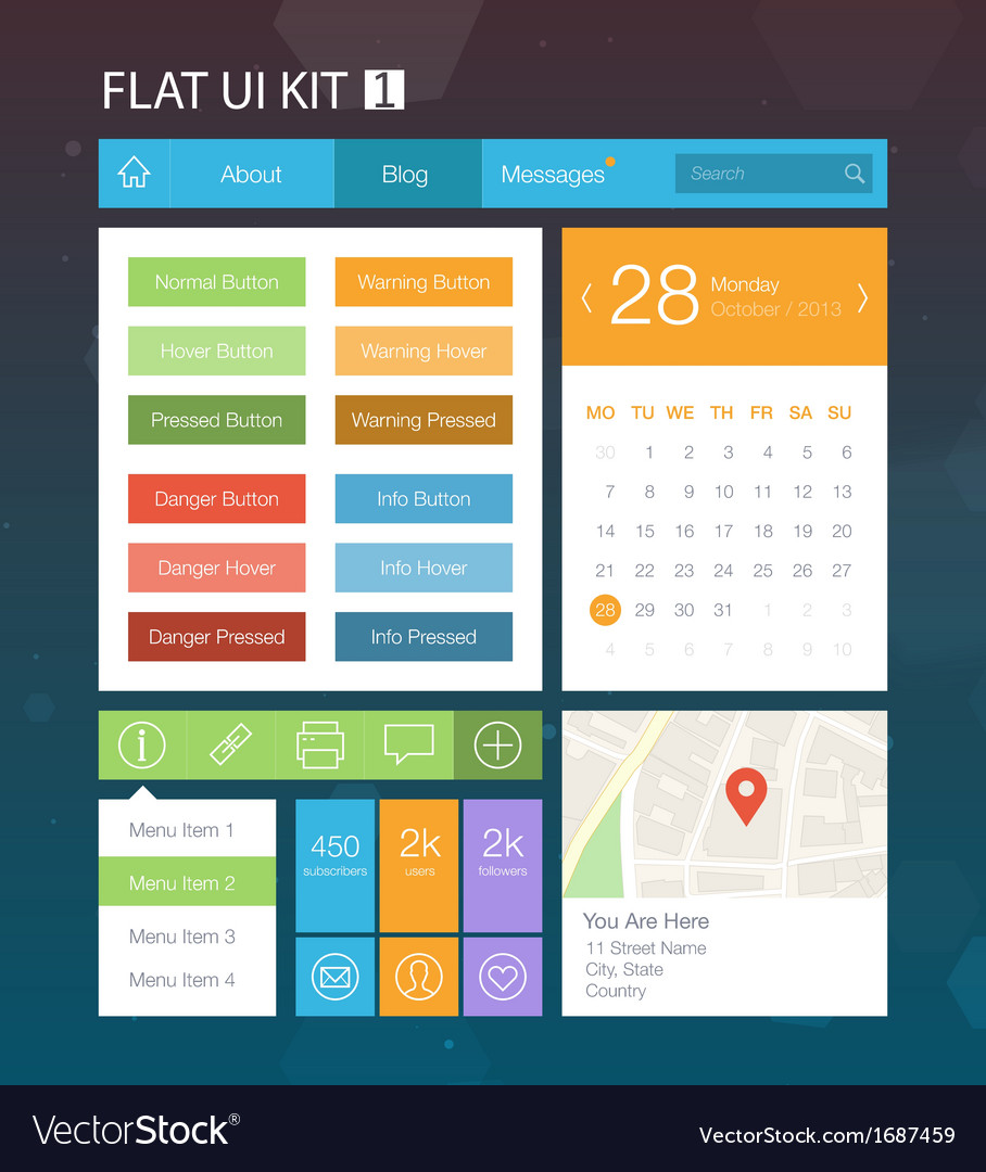 Flat user interface kit for web and mobile 1 vector | Price: 1 Credit (USD $1)