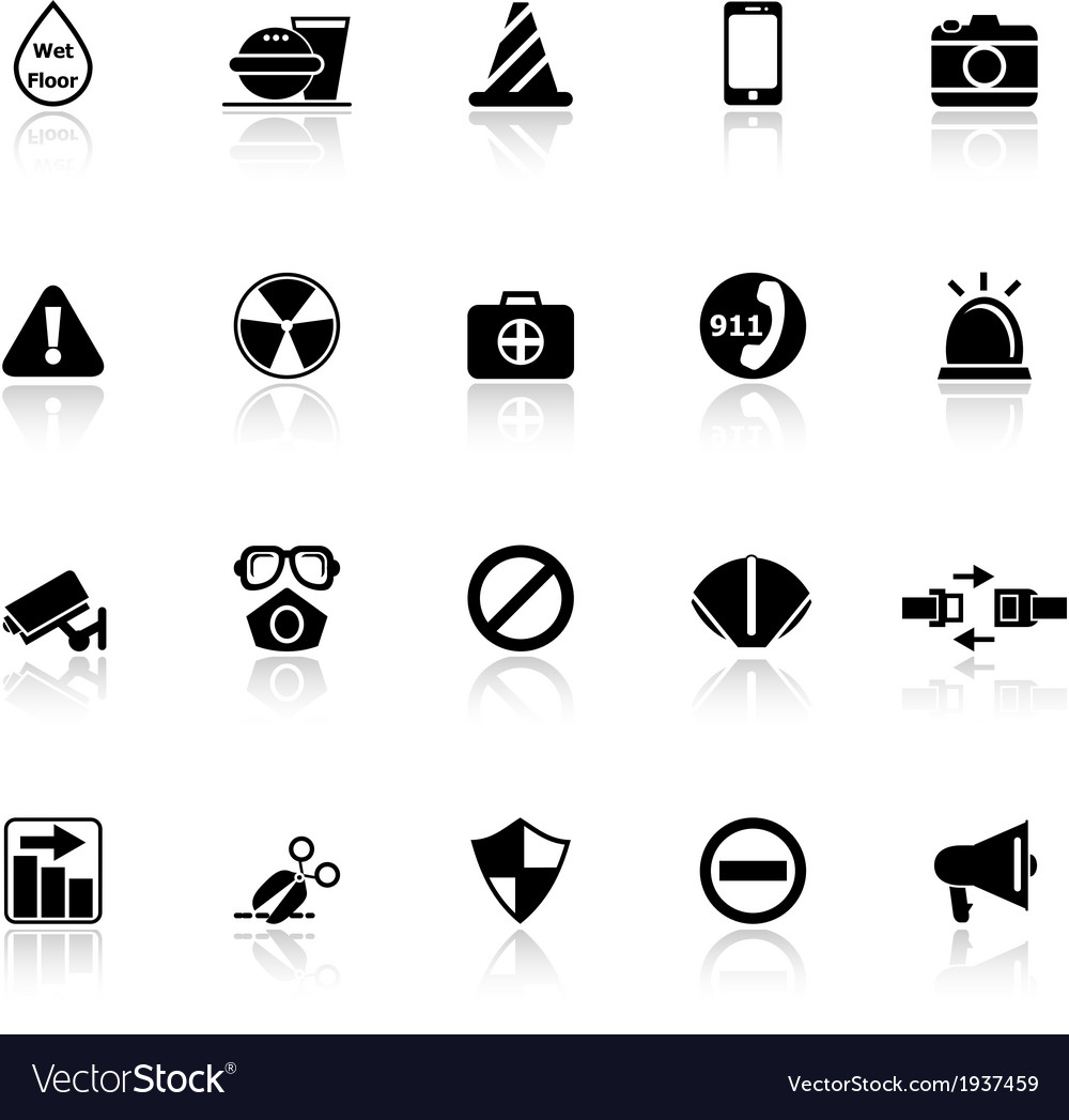 General useful icons with reflect on white vector | Price: 1 Credit (USD $1)