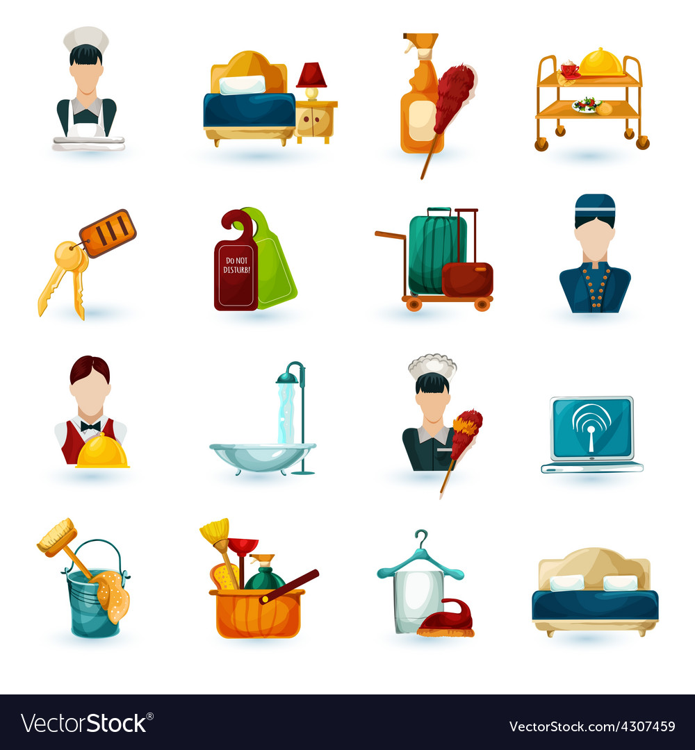 Hotel maid icons vector | Price: 1 Credit (USD $1)