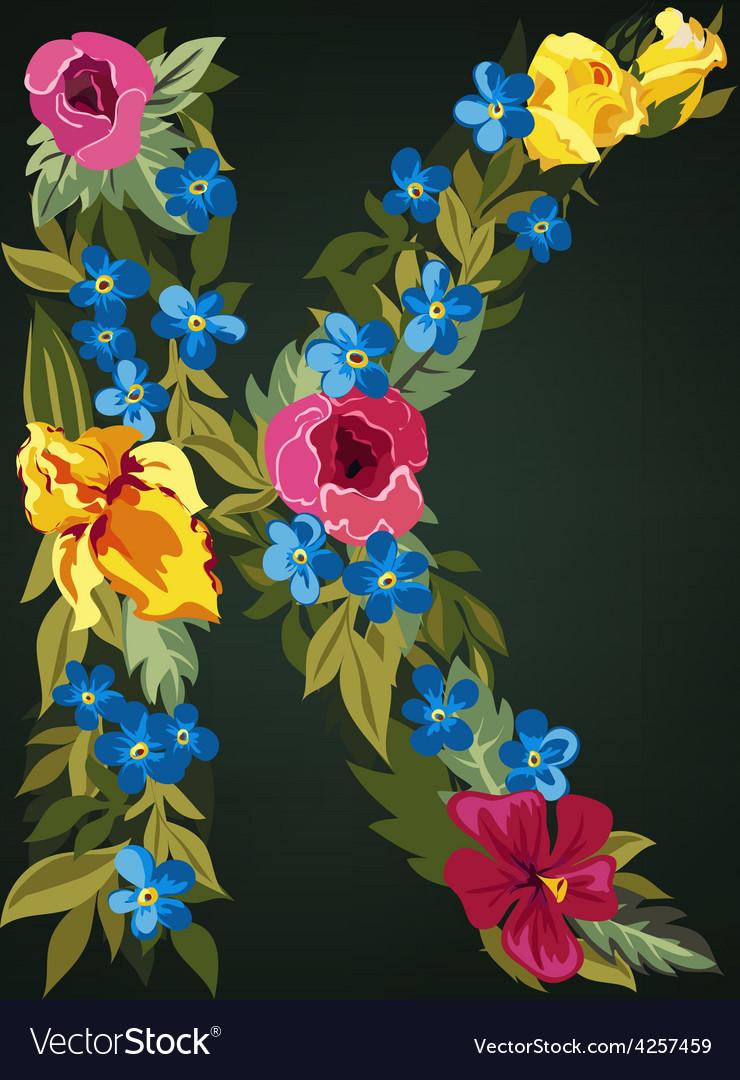 K letter flower capital alphabet colorful font vector | Price: 1 Credit (USD $1)
