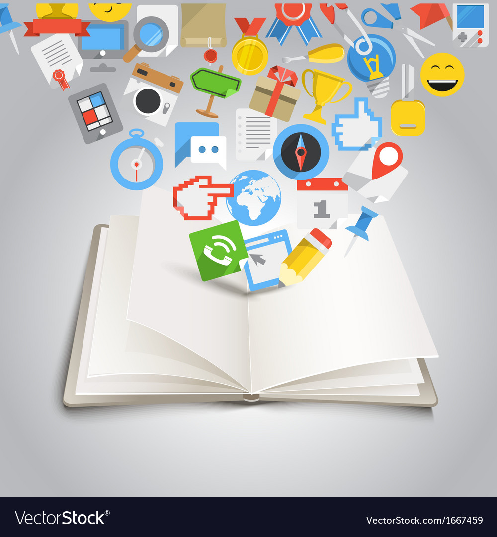 Open book with different color icons vector   Price: 1 Credit (USD $1)