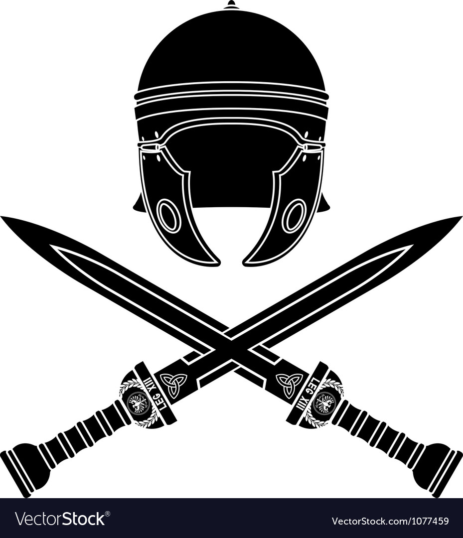Roman helmet and swords second variant vector | Price: 1 Credit (USD $1)