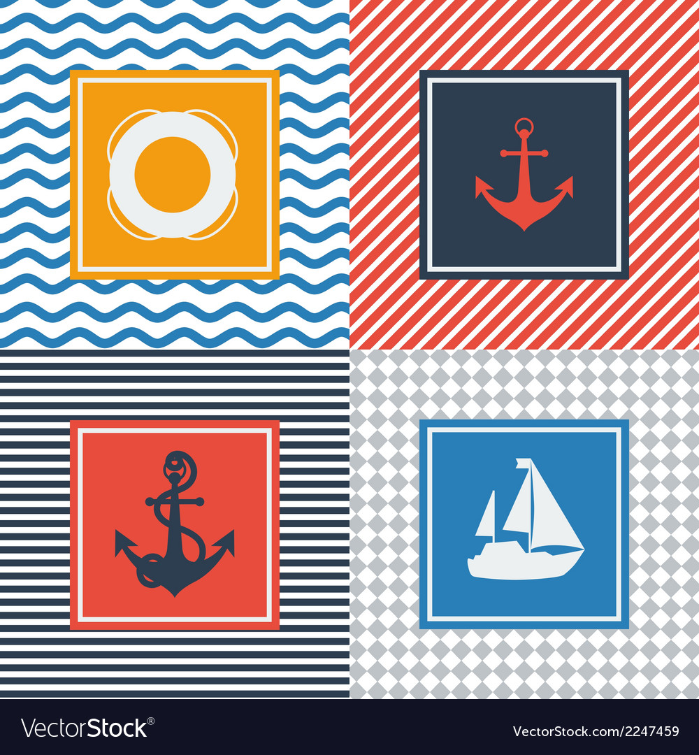 Set of cards with nautical symbols in flat design vector | Price: 1 Credit (USD $1)