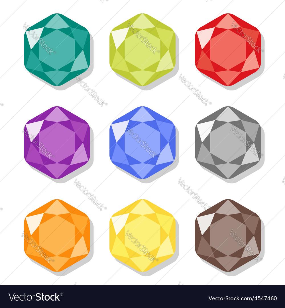 Cartoon hexagon gems icons set vector | Price: 1 Credit (USD $1)
