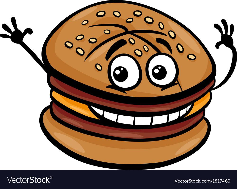 Cheeseburger cartoon character vector | Price: 1 Credit (USD $1)