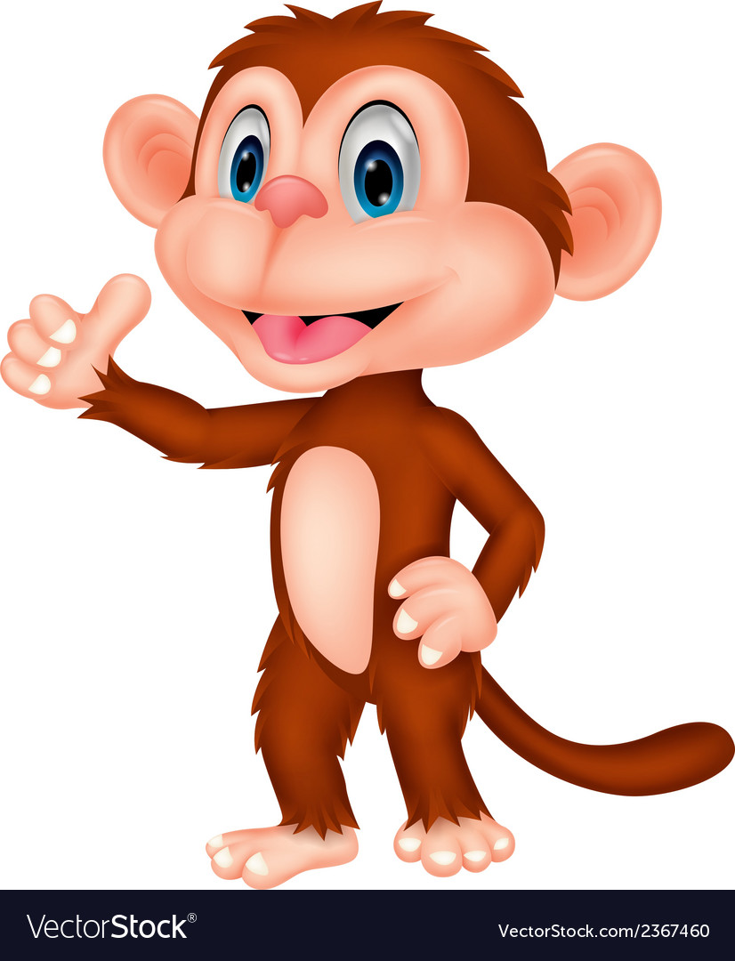 Cute monkey cartoon with thumb up vector | Price: 1 Credit (USD $1)