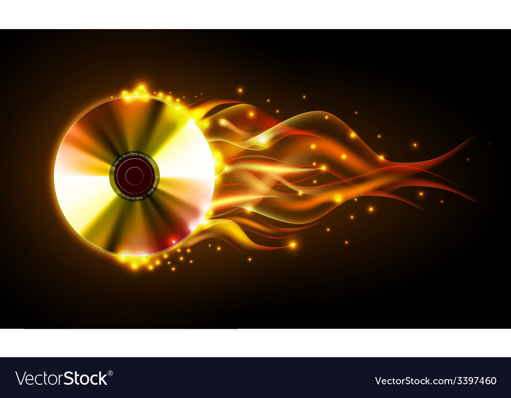 Disco fire background disck or record vector | Price: 1 Credit (USD $1)