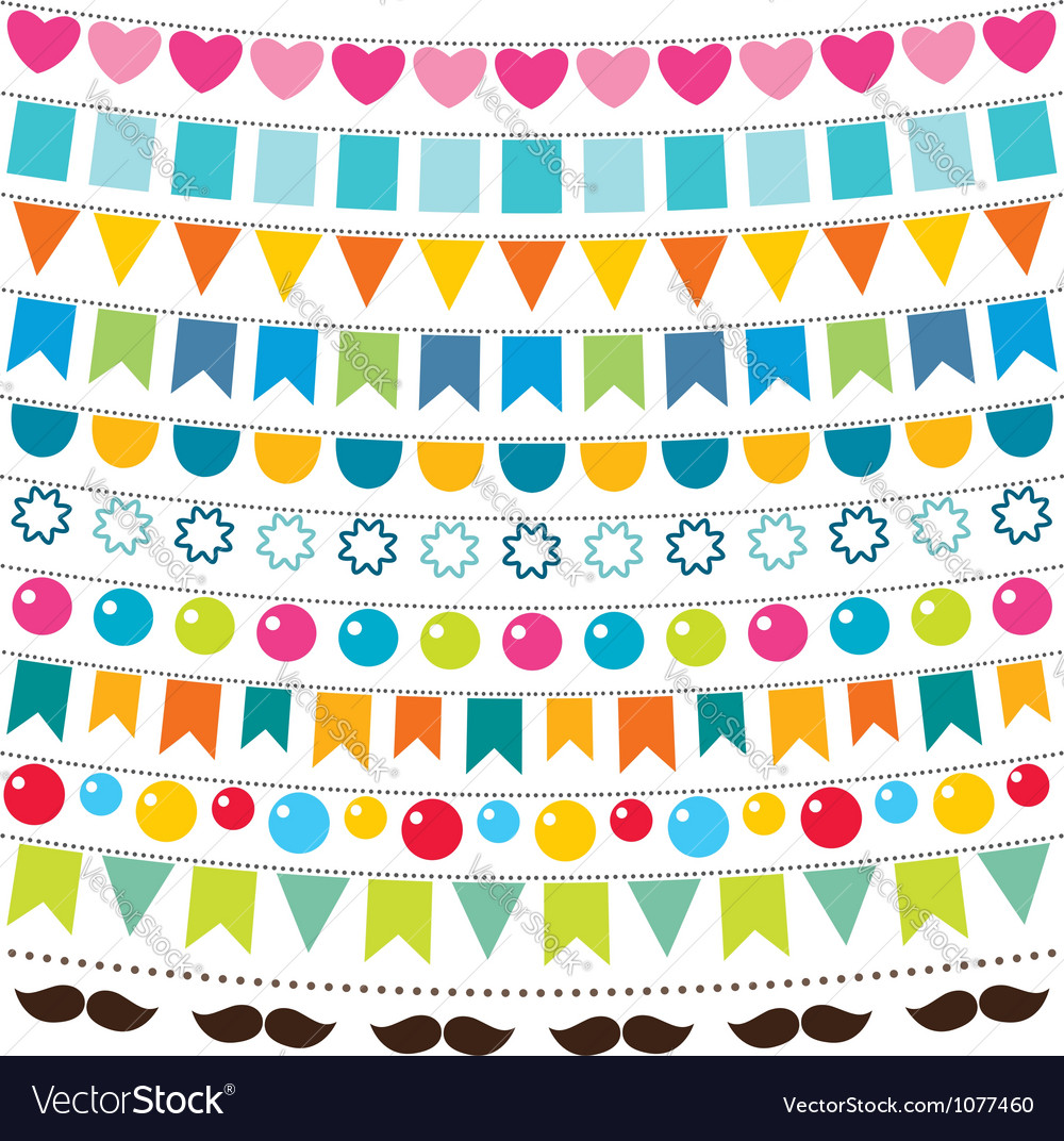 Multicolor bunting set vector