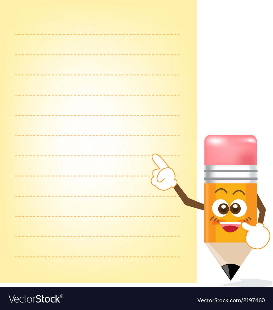 Pencil cartoon showing note paper vector | Price: 1 Credit (USD $1)