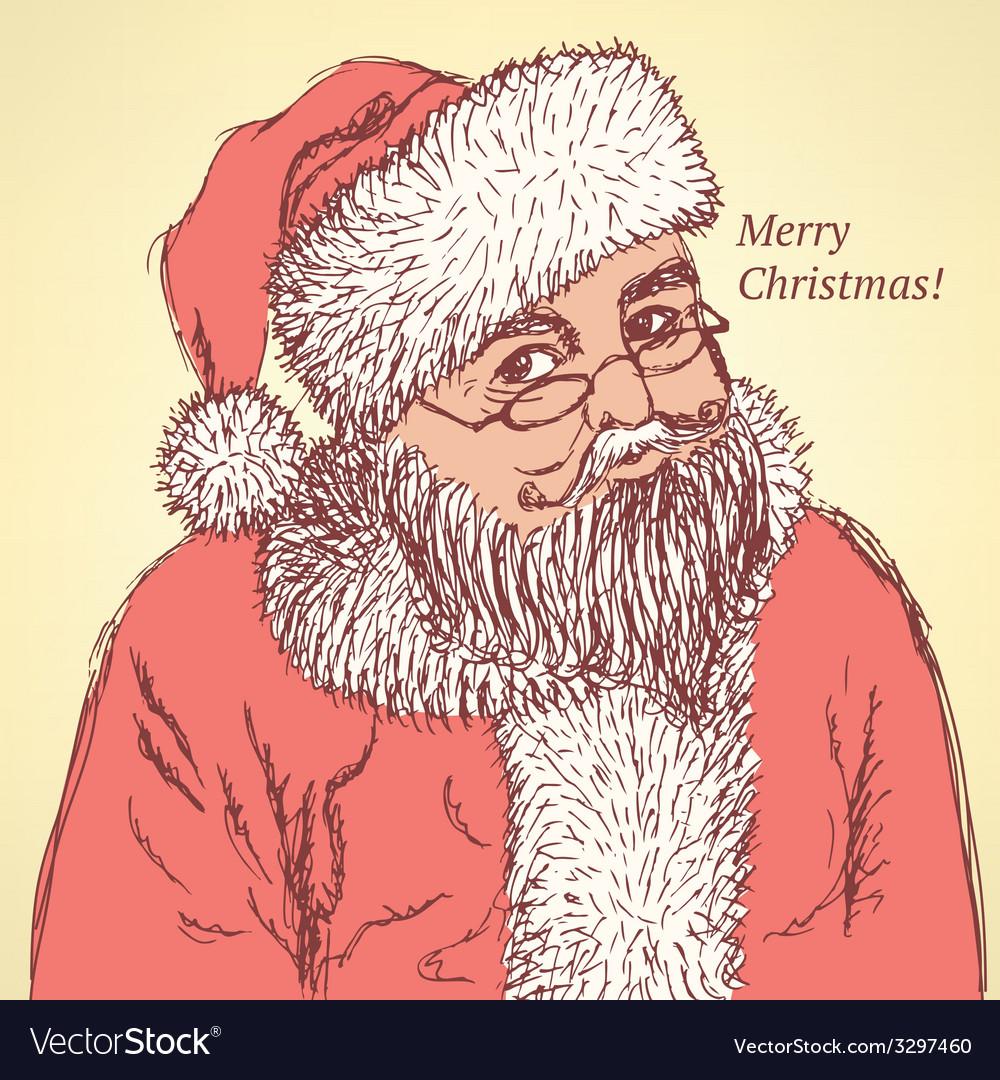Sketch santa claus in vintage style vector   Price: 1 Credit (USD $1)