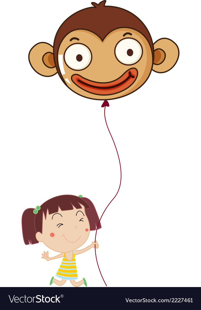 A little girl holding a monkey balloon vector | Price: 1 Credit (USD $1)