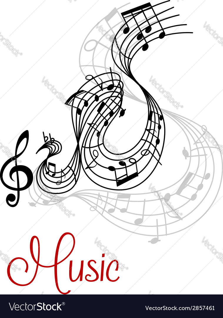 Abstract musical waves composition design vector | Price: 1 Credit (USD $1)