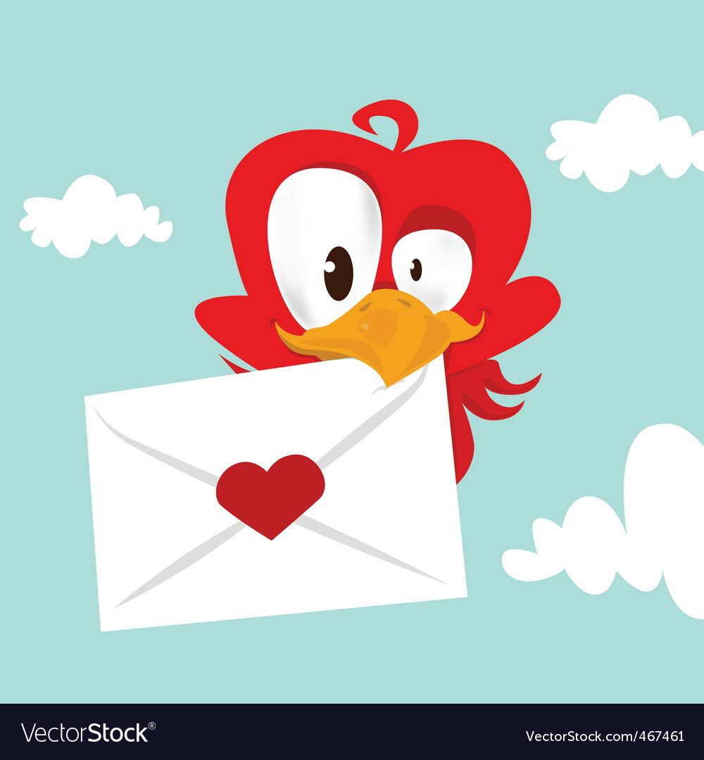 Bird love card vector | Price: 1 Credit (USD $1)