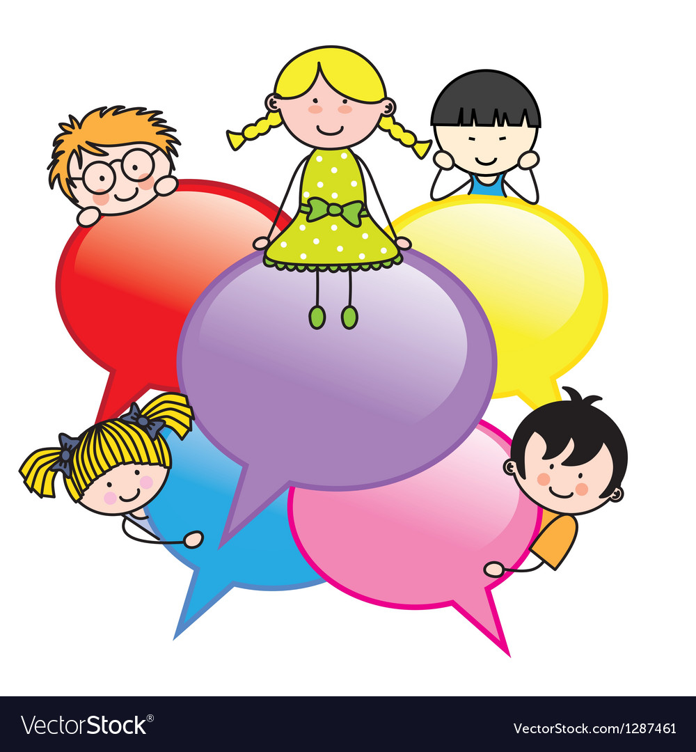 Children with dialogue bubbles vector | Price: 1 Credit (USD $1)