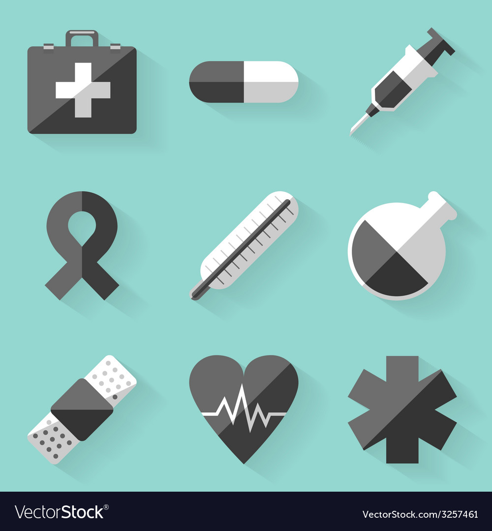 Flat icon set medical white style vector | Price: 1 Credit (USD $1)