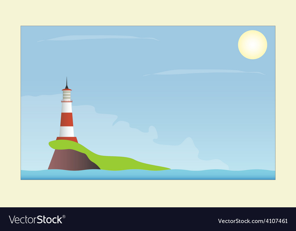 Lighthouse in the sea vector | Price: 1 Credit (USD $1)