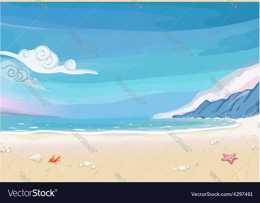 Paradise beach lagoon landscape vector | Price: 3 Credit (USD $3)