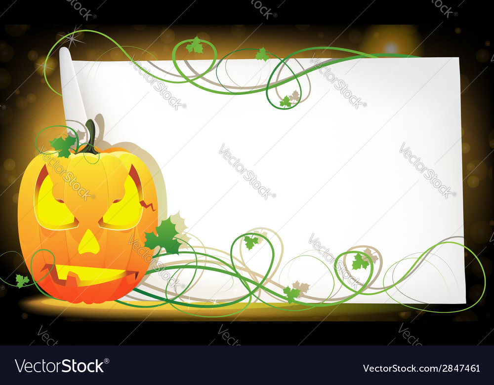 Pumpkin monster and a sheet of paper vector | Price: 1 Credit (USD $1)